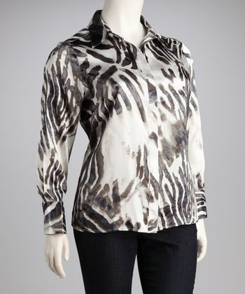 Cream & Blue Zebra Sateen Button-Up - Plus