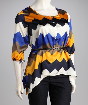 Madison Paige Blue & Gold Zigzag Belted Plus-Size Sidetail Top