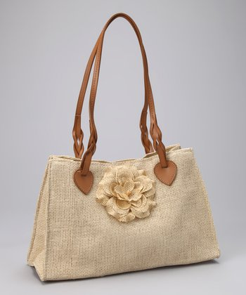 Beige Flower Satchel - Women