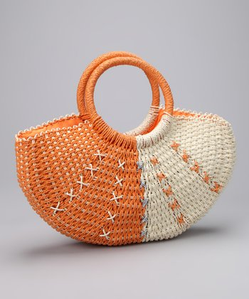 Orange & White Woven Satchel