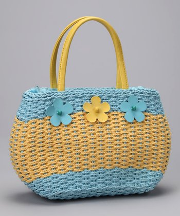 Blue & Yellow Woven Flower Satchel