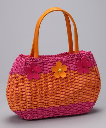 Orange & Fuchsia Woven Flower Satchel