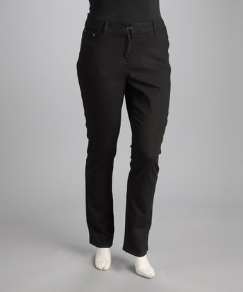 Maduzi Black Plus-Size Straight-Leg Jeans