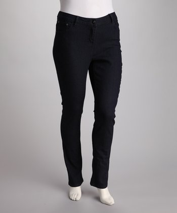 Blue Dark Wash Plus-Size Straight-Leg Jeans