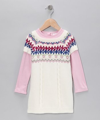 White & Pink Sweater Dress - Infant