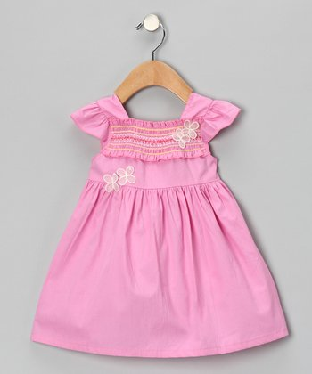 Pink Shirred Flower Dress - Girls