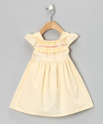 Cream Shirred Flower Dress - Girls