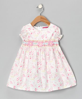 Cream Smocked Floral Dress - Girls