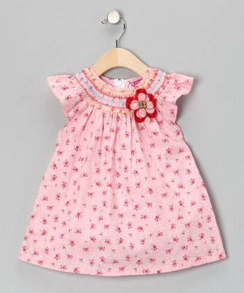 Pink Smocked Floral Dress - Girls