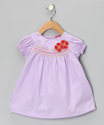 Lavender Smocked Flower Dress - Girls