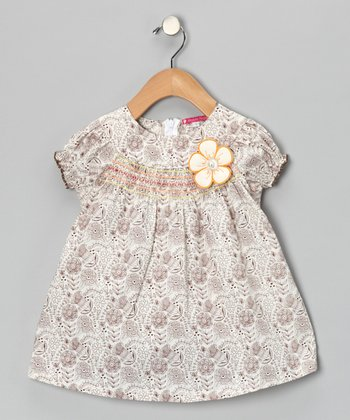 Brown & White Shirred Floral Dress - Infant, Toddler & Girls