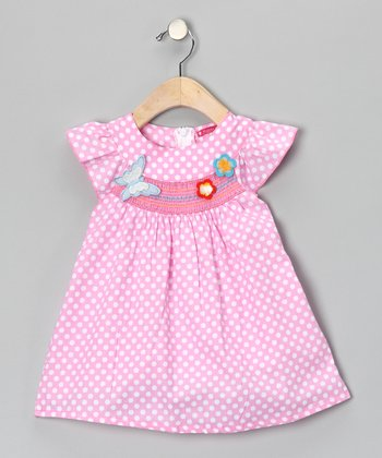 Pink Smocked Polka Dot Butterfly Dress - Girls