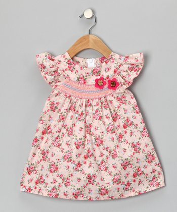 Pink & Beige Smocked Floral Dress - Girls