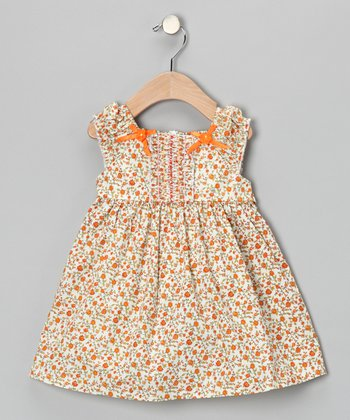 Orange Floral Bow Dress - Girls