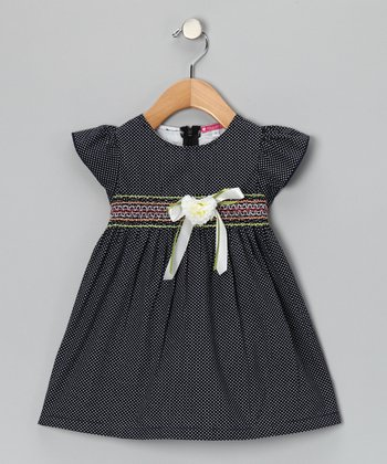 Black Smocked Polka Dot Flower Dress - Girls