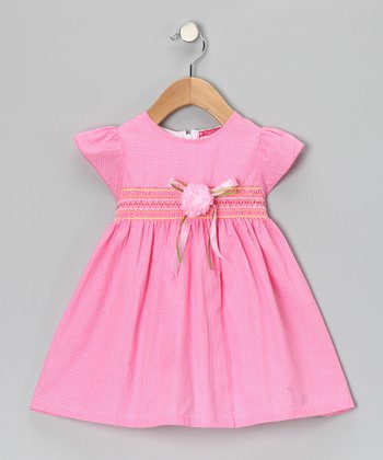 Pink Smocked Polka Dot Flower Dress - Infant & Girls