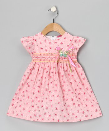 Pink Smocked Floral Butterfly Dress - Girls