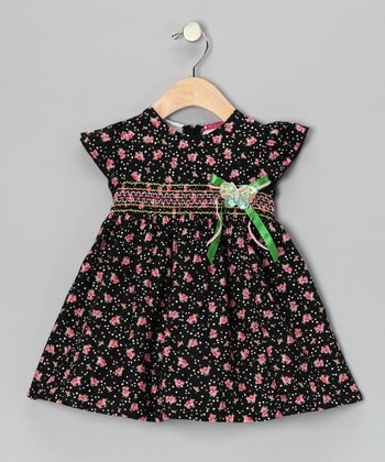 Black Floral Butterfly Shirred Dress - Infant, Toddler & Girls