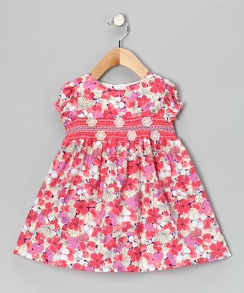 Pink & Fuchsia Smocked Floral Dress - Girls