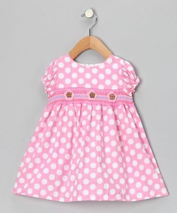 Pink Smocked Polka Dot Daisy Dress - Girls