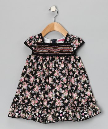 Black & Pink Floral Ruffle Shirred Dres - Infant & Girls
