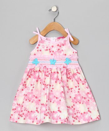 Pink & Aqua Smocked Floral Dress - Toddler & Girls