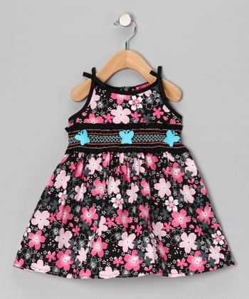 Pink Floral Butterfly Shirred Dress - Toddler & Girls