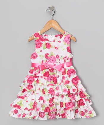 Maggie Peggy Pink Rosette Tiered Dress - Girls