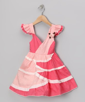 Pink Petal Angel-Sleeve Dress - Toddler & Girls