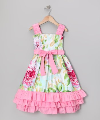 Maggie Peggy Pink & Green Floral Ruffle Dress