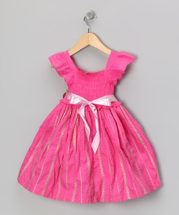 Maggie Peggy Hot Pink Flutter-Sleeve Dress - Toddler