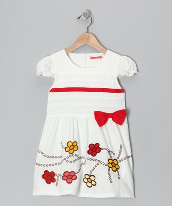 White Daisy Bow Dress - Infant, Toddler & Girls