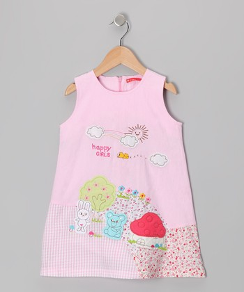 Pink 'Happy Girls' Dress - Infant, Toddler & Girls
