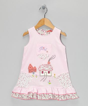 Light Pink Floral 'Girl' Ruffle Dress - Infant, Toddler & Girls