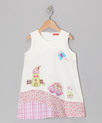 White Cat Coach Dress - Girls