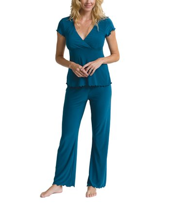 Majamas Teal Nursing Pajama Set