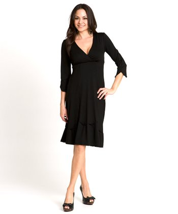 Black Devoted Maternity & Nursing Surplice Dress