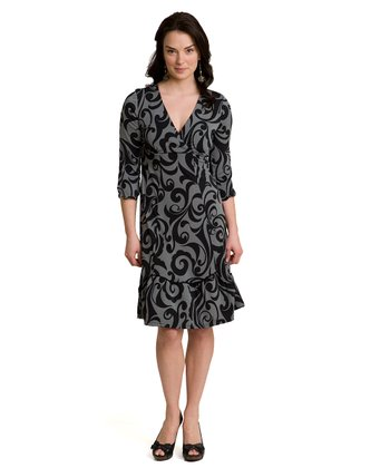 Gray Finial Devoted Maternity & Nursing Surplice Dress