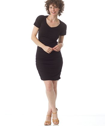 Black Funky Town Maternity & Nursing Dress