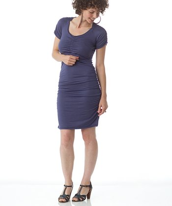 Denim Blue Funky Town Maternity & Nursing Dress