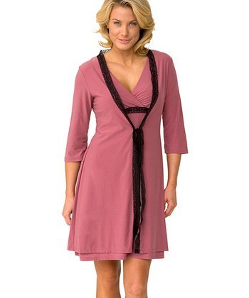 Majamas Raspberry Lace Nursing Nightgown & Robe