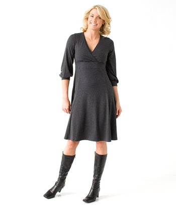 Charcoal Rosarito Maternity & Nursing Surplice Dress