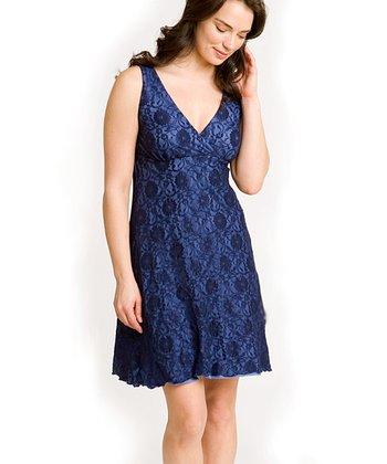 Majamas Navy Lace Nursing Nightgown