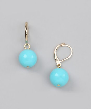 Turquoise Glass Bead Earrings