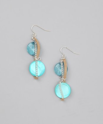 Turquoise Lucite Shell Earrings