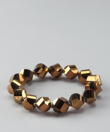 Bronze & Silver Metallic Twist Stretch Bracelet