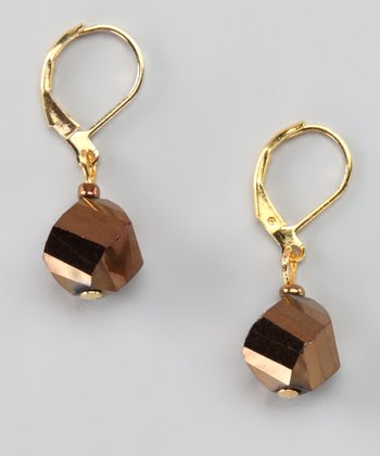 Bronze & Silver Metallic Twist Drop Earrings