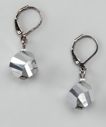 Metallic Silver Twist Drop Earrings