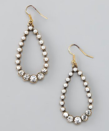 Ivory Glass Pearl & Rhinestone Teardrop Earrings