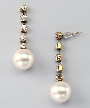 Glass Pearl & Rhinestone Drop Earrings